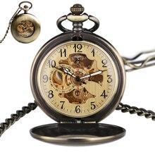 31cd5f50af1 YISUYA Steampunk Bronze Mecânico Automático Auto Vento Relógio de Bolso  Cadeia Fob Caso Suave Oco Antique Pendant Homens Mulhere.