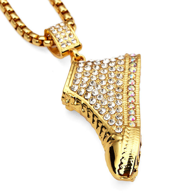 NYUK 10pcs Lot Gold Sneaker Shoe 3D Crystal Iced Out Shoes Pendant Necklace  Hip Hop Miami Cuban Curb Chain For Men Women Gifts da719046c45e