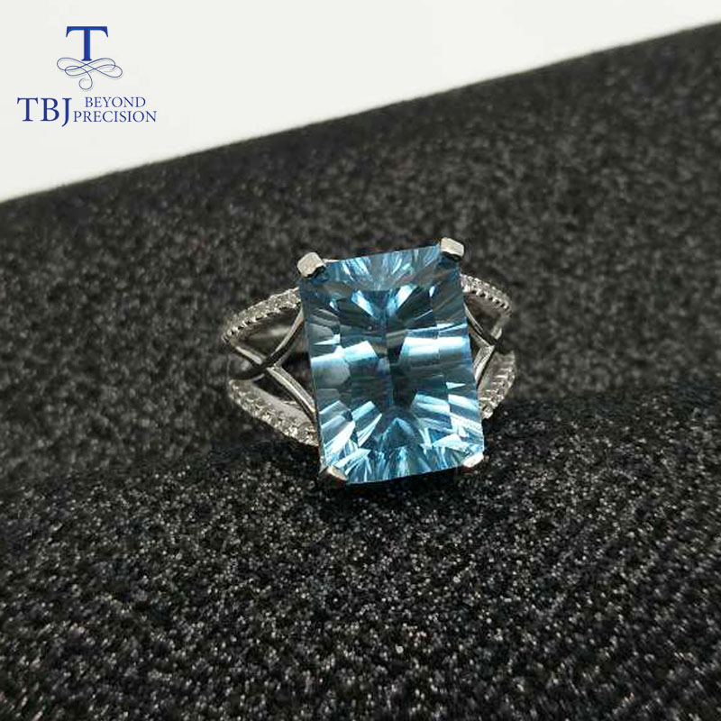 TBJ,Big Blue topaz gemstone Ring 8ct emerald concave shinning cut topaz ring in 925 sterling silver gemstone jewelry with box