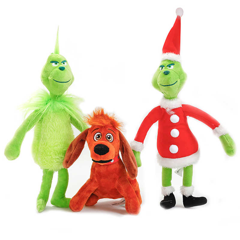 f78ffb29ba1 Newest Movie The Grinch Plush Doll Toys Green Grinch Brown Max Dog Merry  Christmas Collectable Stuffed