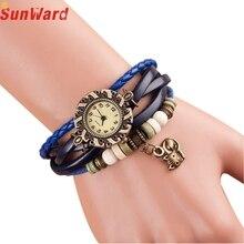 SunWard bracelet christmas presents Quartz Weave Round Leather-based Cat Bracelet Woman Girl Wrist Watch M170404