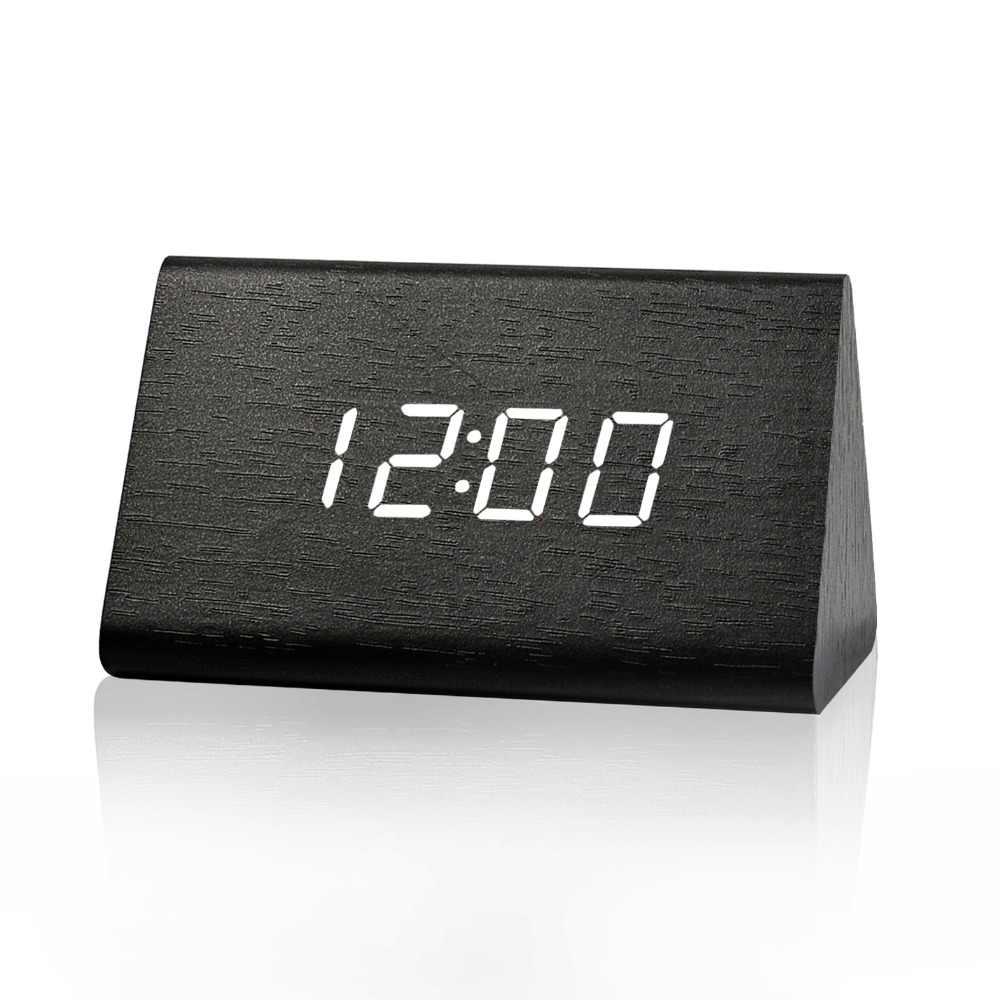 Suncree רומן משולש הלילה זוהר LED עץ דיגיטלי שעונים, reloj despertador נחמד טמפ תאריך זמן led אלקטרוני שעון