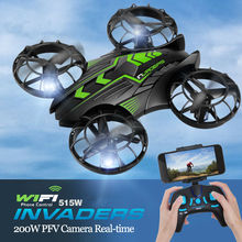 Newest Drone JXD 515W INVADERS UFO WIFI FPV RC Drone 2.4GHz Drone With Camera Set High Mode Headless Mode RTF for best gifts