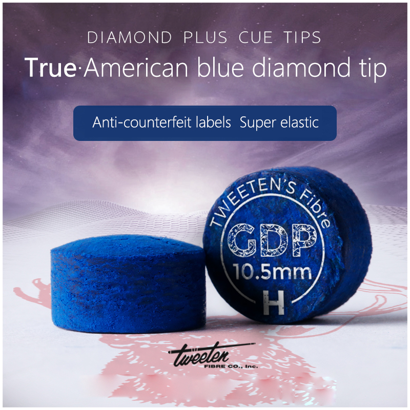 SuperGold Diamond Blue Tip Excellent Pool Cue Tip  Billiards Accessories With Authentic American Blue Diamond Logo