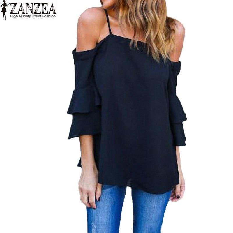 S 5XL ZANZEA Fashion Women 3/4 Bell Flare Sleeve Ruffles ...