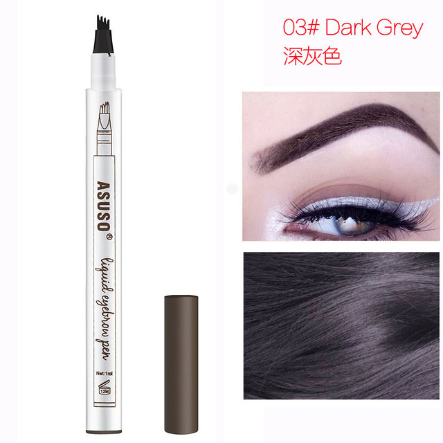 Hot Sale Microblading Eyebrow Tattoo Pen Waterproof Eye Makeup 3 Colors Easy Use Eyebrow Pen Deep Color Pencil Eyebrow 5