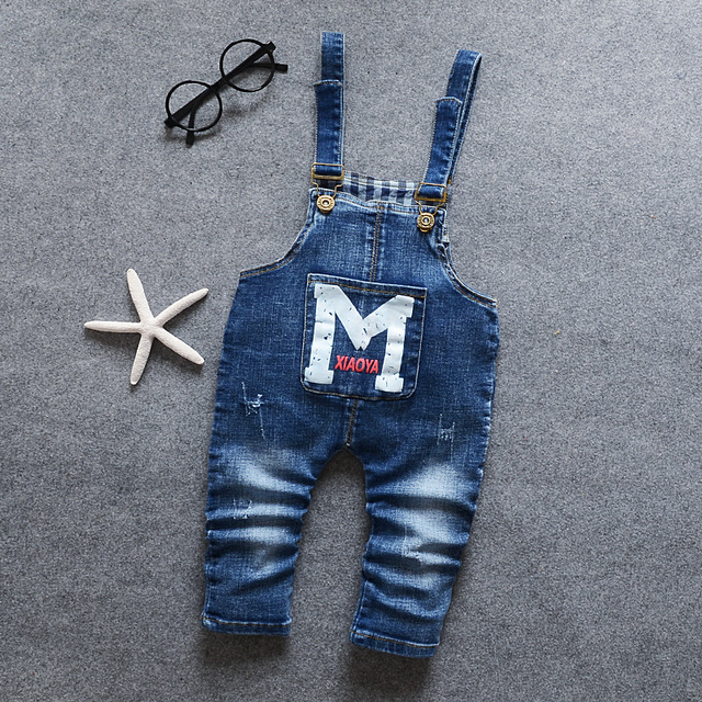 Primavera Otoño 2017 Kids Boys Blue Denim Jeans Niños Guardapolvos Del Mono Para Niños Pequeños Bib