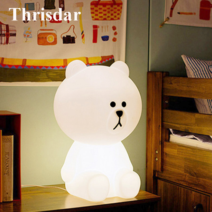 Thrisdar Cute Rabbit Bear Led Night Lamp Dimmable Baby Sleeping Beside Table Light Children's Toys Christmas gift for Kids Baby xmas gift series christmas decorations for home 3d lamp led night light luminaria santa claus tree snow man bear fish kids toys