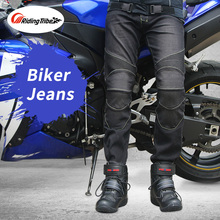 Motorcycle Men's Biker Jeans Protective Gear Motocross Motorbike Racing Breathable Pants Straight Trousers komine japanese original riding tribe motorcycle men s biker jeans protective gear motocross motorbike racing breathable pants