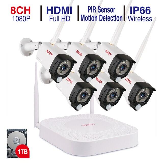 טונטון 8CH 1080P אודיו הקלטת 1TB HDD אבטחה אלחוטית טלוויזיה במעגל סגור NVR ערכות 2MP עמיד למים WIFI מצלמות וידאו מעקב מערכת