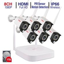 Tonton 8CH 1080P nagrywanie dźwięku 1TB HDD bezpieczeństwo bezprzewodowe zestawy CCTV NVR 2MP wodoodporne kamery WIFI System monitoringu wizyjnego