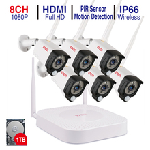 Tonton Sistema de videovigilancia inalámbrico 8 canales, 1080P, 1TB HDD, Kits de seguridad NVR CCTV 2MP, impermeable, WIFI