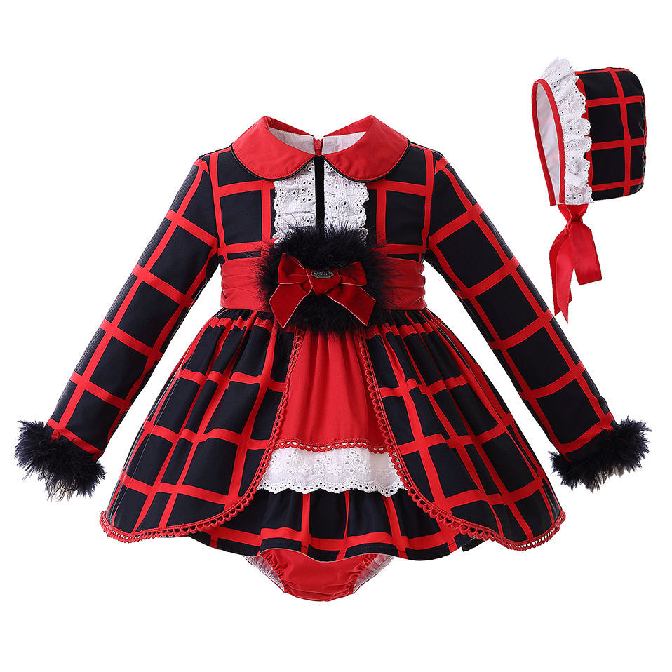 Pettigirl Autumn Turn down Collar Baby Girl Clothing Set Red Grid Faux Fur long Sleeves Top