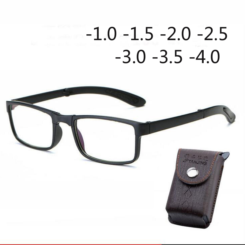 Folded finished glasses for men and women have degree frame glasses -1.0 -1.5 -2.0 -2.5 -3.0 -3.5 -4.0
