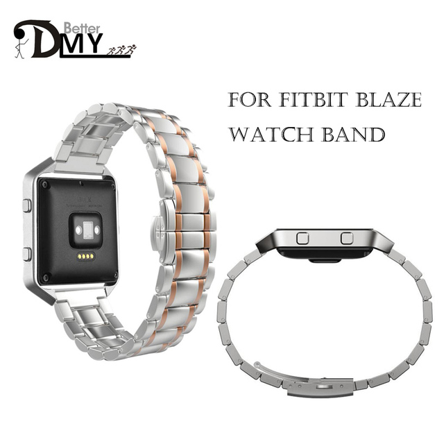 23mm Stainless Steel Watchband Quick Release Band Bracelet Strap for Fitbit Blaze Smart Fitness Watch Black Rose Gold Silver