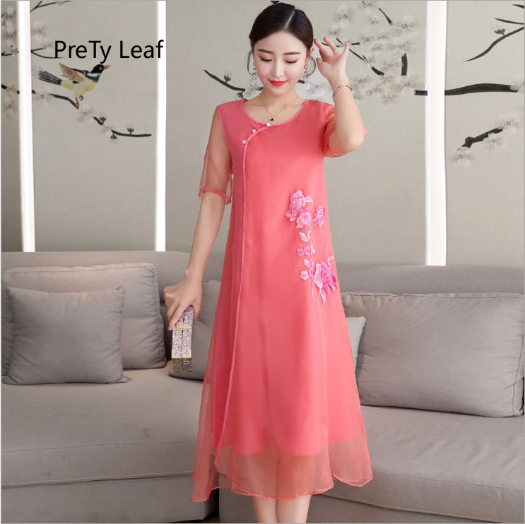 2018 retro European large size organza temperament dress