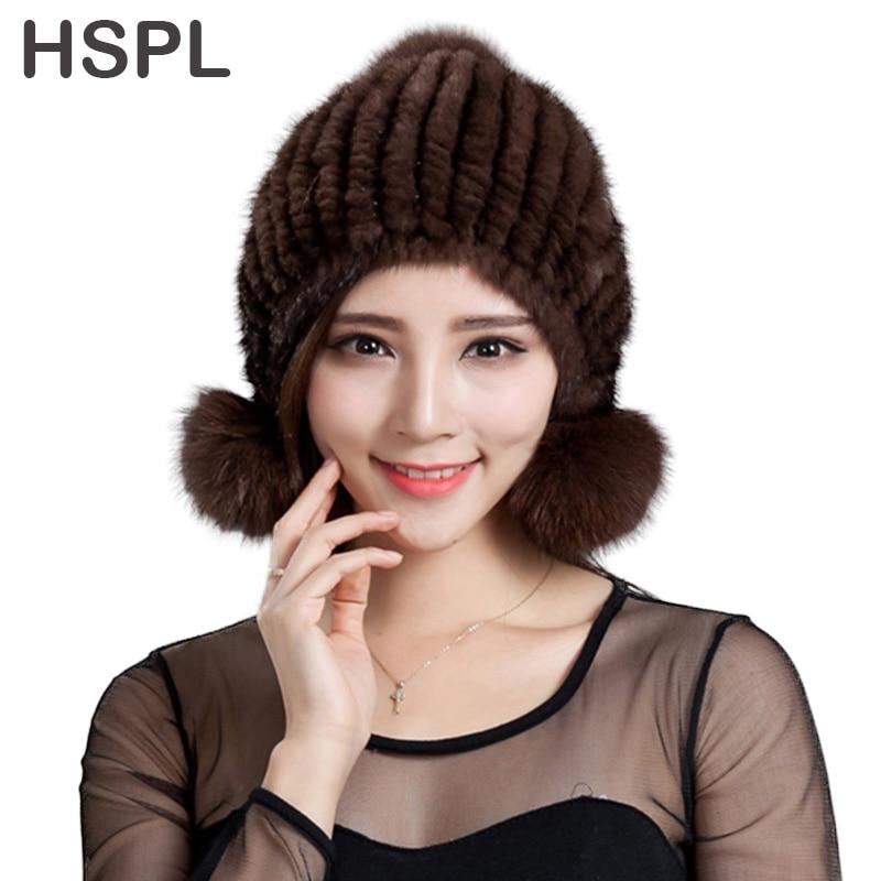 HSPL Fur hat 2017 Fashion Knitted Real Mink Bomber Hat with Fox Fur Pom Pom Ear Flaps Warm Winter Black Women Lady Mink Bone Cap hspl fur hat guarantee 100