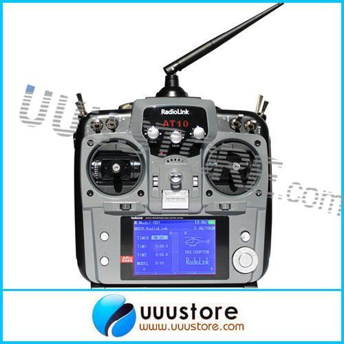 RadioLink DSSS 2.4GHz 10CH RC Radio Control System Transmitter Tx& Receiver Rx Combo AT10 - Grey And Red