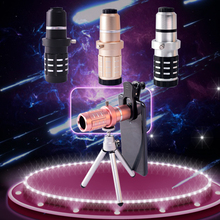 12X HD Zoom Telescopic Phone Lens Metal Monocular Telescope With Tripod External Mobile Phone Lens цена