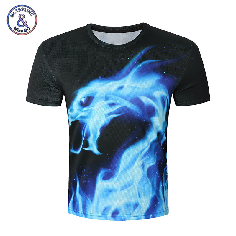 new 2017 cool t shirt men 3d fire dragon print short sleeve o neck summer tops tees plus size. Black Bedroom Furniture Sets. Home Design Ideas