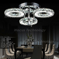 Moda 3 anel de cristal luz de teto 110 V/220 V 27 W conduziu a lâmpada do teto de luxo sala de estar quarto iluminação da sala