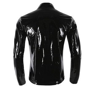 Image 2 - New Long Sleeve Patent Leather Men Shiny Metallic Front Zip Stand Collar Tops Wet Look Nightclub Style Jackets Party Costumes