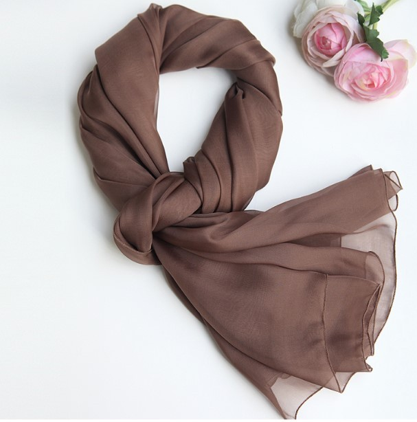 100% Real Chiffon de seda de luxo da marca cachecol Hijab muçulmano café suave Brown macio cachecóis e xales verão praia Suncreen xales