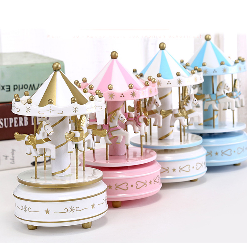 christmas Carousel Music Box With LED lights Craft Ornament clockwork Wooden music box birthday Party girlfriend gift home decor in Music Boxes from Home Garden