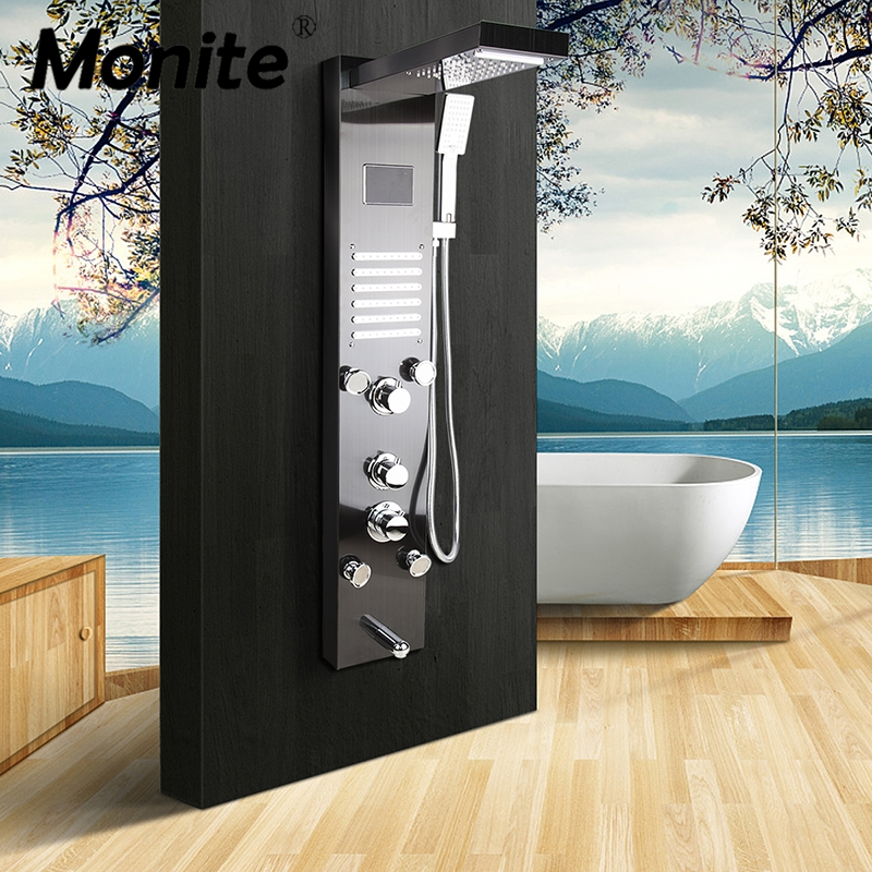 Monite Dark Grey Nickel Brushed Digital Display Shower Panel Column LED Rain Waterfall Shower Spa Jets