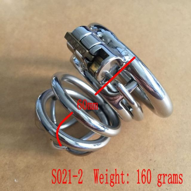 New penis lock stainless steel cock cages male chastity device with arc cock ring Anti-off Card ring dick cages for man S021-2