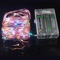 2 M/20 LEDs 3 M/30 LEDs 5 M/50 LEDs 10 M/100 LEDs à prova d' água LED Fio De Cobre Luz Cordas Bateria Operado LEVARAM Luzes De Fadas para o Feriado