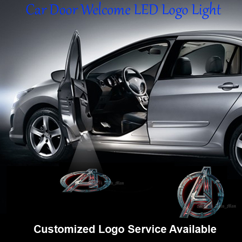 2x Car Door Welcome Laser Projector 3D Marvel The Avengers Logo Ghost Shadow Puddle LED  ...
