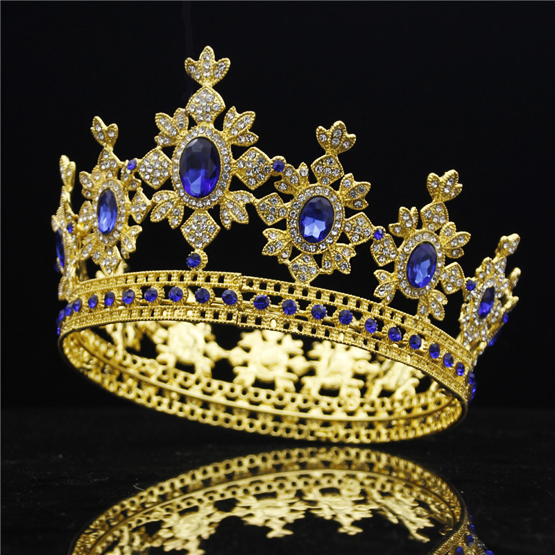 Luxury Royal King Wedding Crown Bride tiaras and Crowns Queen Hair Jewelry Crystal Diadem Prom Headdress Head accessorie Pageant
