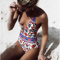 One Piece Swimsuit 2018 Sexy Cross Back Swimwear Women Swimsuit Vintage Retro Bathing Suits Beach Wear
