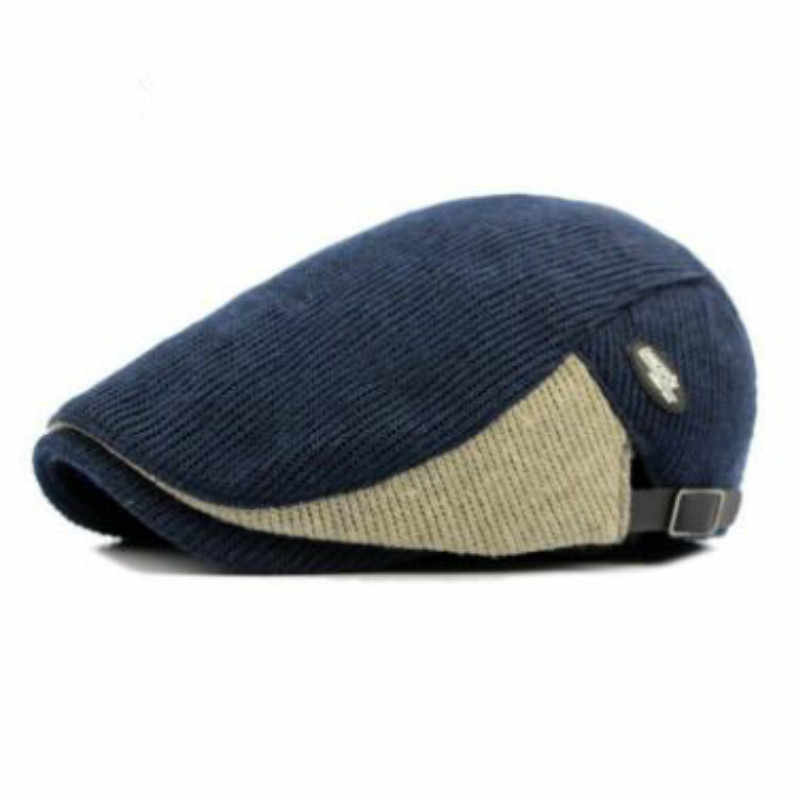 b4080f00311 ... which in shower patchwork knitted beret hat old men thick warm winter  hat flat duckbill cap