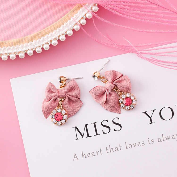 MENGJIQIAO 2018 New Korean Pink Bowknot Dangle Earrings For Women Rhinestone Drop Earings Fashion Jewelry Sweet Christmas Gift
