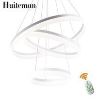Huiteman Lamp Pendant Lights Modern Crcel Rings Modern Dining Room Foyer Room Luminaire Suspension White LED