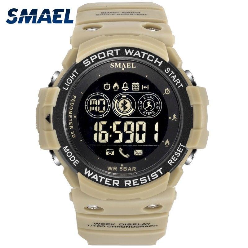Hommes Numérique Sport Homme Horloge SMAEL Marque Kahki Style Bluetooth Montre LED Affichage 1602 Smart Montres Chronographe Date Automatique