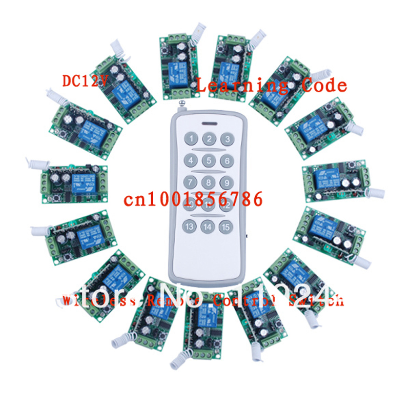 ФОТО 12V15CH RF wireless remote control switch system 15receivers&1 transmitter independently Toggle/Momentary/Latched Adjustable