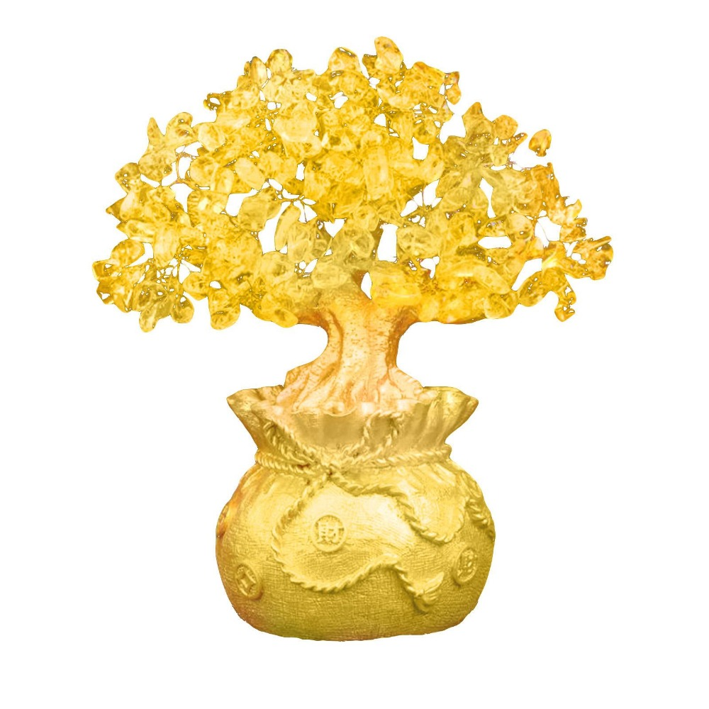 Feng Shui Crystal Money Tree Ornaments Lucky Tree Bonsai Style Wealth Luck Feng Shui Bring Wealth Home Money Tree Ornaments A20