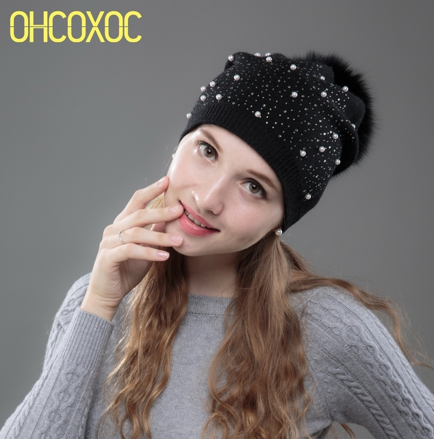 2f698f525 US $9.57 42% OFF|OHCOXOC New Women Beanies Real Fox Fur Pom Poms Ball Cap  Keep Warm Beanies Skullies Rhinestone Pearl Autumn Winter Hat -in Skullies  & ...