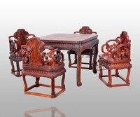 Квадратный 96 Шахматы столы, набор (1 стол и 4 стула) палисандр Кофе чай Рабочий стол Carven ремесел Аннато кресло из массива деревянный Опираясь