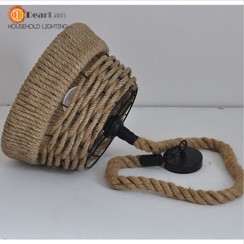 ФОТО New Arrival Creative Retro Countryside Hemp Rope Vintage Pendant Lamp Loft/Factory/Dining Room Lighting 31-40w e27,110V-240V