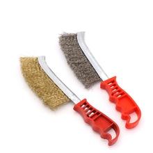 Барбекю щетка для чистки гриля красная пластиковая ручка стальная проволочная щетка медное покрытие щетка против коррозии барбекю сетка чистящие аксессуары