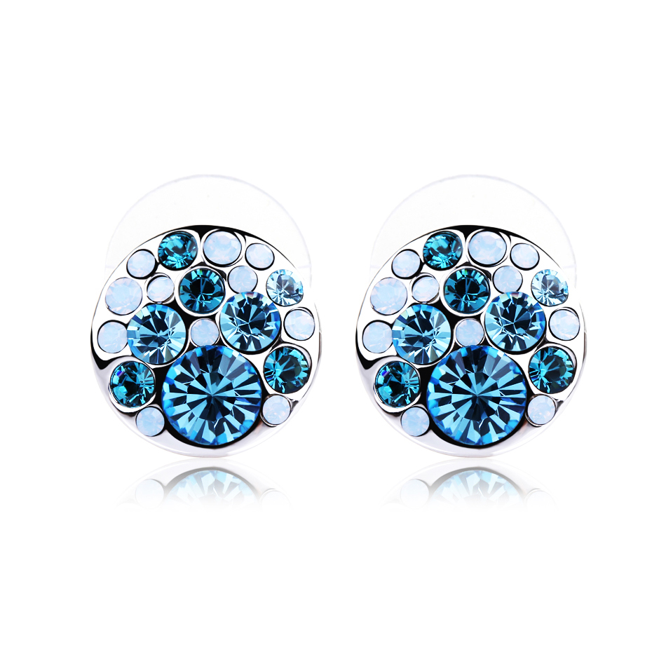 Classic High Quality Rhinestone Earrings Blue Round & White Opal Crystal On  Alloy Disc Studs Fashion