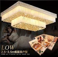 Crystal lighting living room rectangular citrine chandelier luxury hotel LED crystal lamp ceiling lamp room