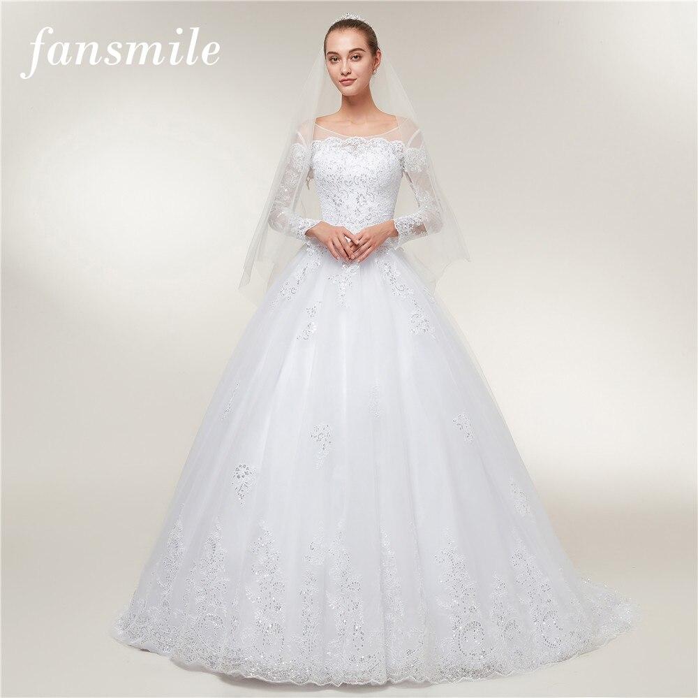 Fansmile Vestido De Noiva Vintage Lace Ball Gown Wedding Dresses 2020 Long Train Custom Plus Size Wedding Gowns Tulle FSM-395T