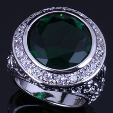 Unique Big Round Green Cubic Zirconia White CZ 925 Sterling Silver Ring For Women V0564 fym unique cubic zirconia big white crystal necklace