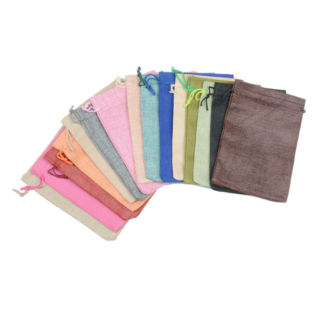 купить 50 PCS 13x18cm Linens Drawstring Bag Buddha Bead Gift Bag Portable Battery Bag Jewelry Bracelet Gift Gag Pocket 16 olors по цене 3652 рублей