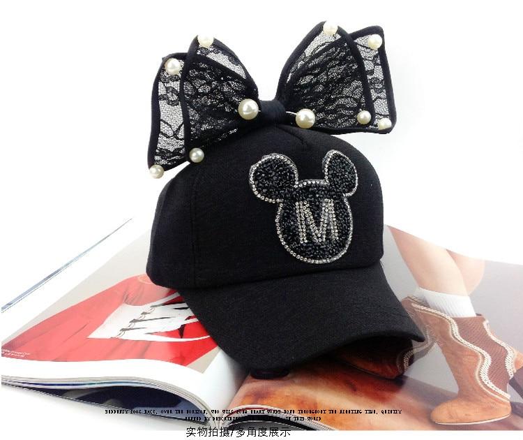 Summer children bow and Pearl Black Diamond cute Mickey peaked cap female  baseball cap curved eaves hip-hop cap - us826 223ca9fa53cd8